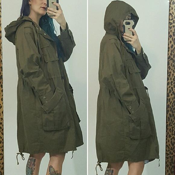 30% off H&M Jackets & Blazers - H&M olive green long parka jacket ...