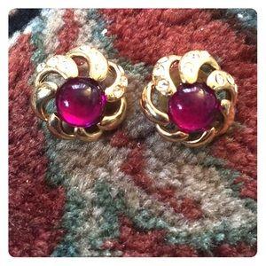 Vintage inspired post earrings with purple gem