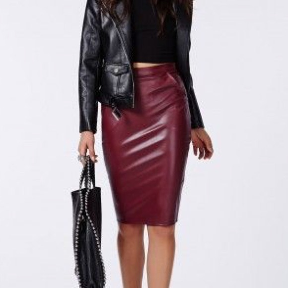 50 missguided dresses skirts maroon leather skirt
