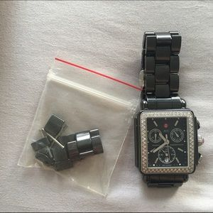 Michele Accessories - Deco Diamond Charcoal Ceramic Watch