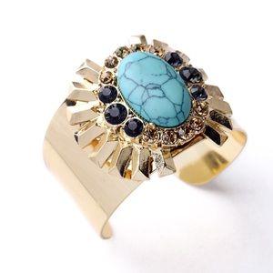 Turquoise Statement Bracelet Boho Inspired Cuff