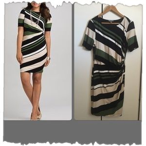 Toxic & Ali Fitted Striped Dress w/Side Ruching