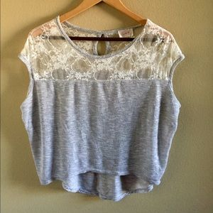 Tops - Shiny silver shirt with white lace