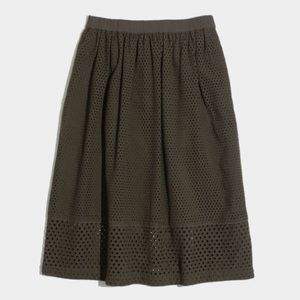Madewell Dresses & Skirts - Madewell Olive Trelliswork Eyelet Midi Skirt