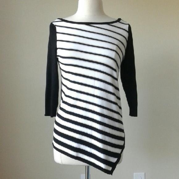 39f8a58c24c Asymmetrical glitter striped tunic sweater