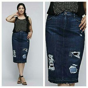 6th & Lane Dresses & Skirts - NEW 6TH & LANE DESTRUCTED DENIM PENCIL SKIRT