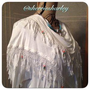 Fezz Tops - 🦋Boho Beaded White Poncho Drape-Style Moroccan