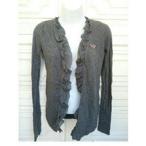Hollister Sweaters - Ruffled grey Hollister open cardigan