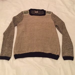 Evolution by Cyrus Sweaters - Long sleeve knit sweater with studded shoulders