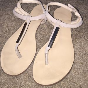 Calvin Klein Tan T-Strap Sandals