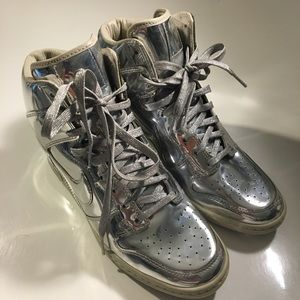 Nike Shoes - Nike Sky High Liquid Metal Metallic Sneaker Wedge