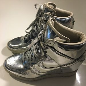 Nike Shoes - Nike Sky High Liquid Metal Metallic Sneaker Wedge