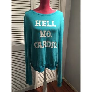 Wildfox Couture Teal HELL NO CARDIO Sweatshirt L