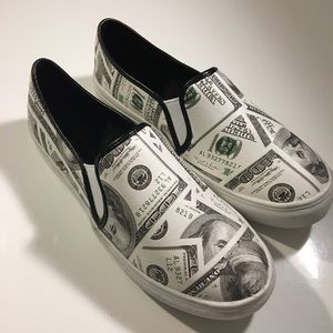 Money Print Slip On Shoes.