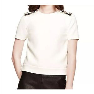 NWT Kate Spade Embellished Crepe White Top Sz 10