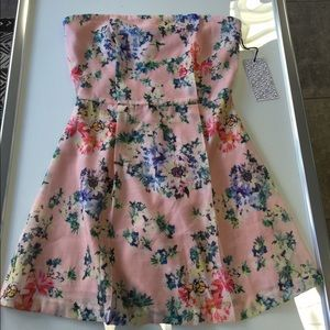 Lucca Couture Dresses & Skirts - Lucca Couture Pink Floral Strapless Dress Small
