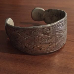 Antique vintage tribal engraved design silver cuff