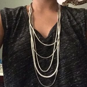 Leather w snake chain cascading layered necklace