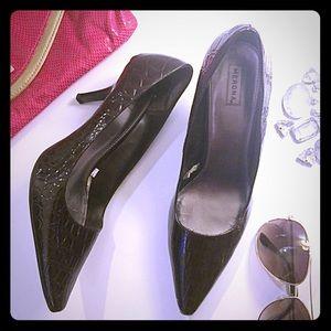 Merona Shoes - Merona   Chocolate Brown Crocodile Textured Heels