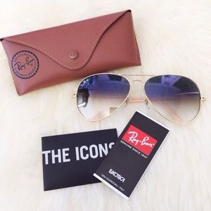Ray Ban Gradient Light Blue Aviator Sunglasses