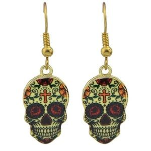 💀 Calavera Mexican Sugar Skull Floral Earrings