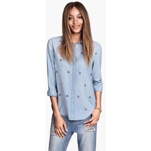 H&M Beaded Rhinestone Chambray Denim Shirt