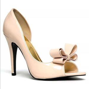 Cape Robbin Shoes - D'Orsay Stiletto Heel Nude Bow 8.5 M Dress shoe