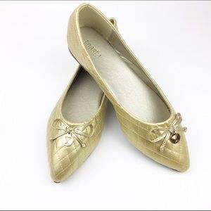 H2k Shoes - Gold Quilted Pointed Toe Ballet Flats Shoe NEW