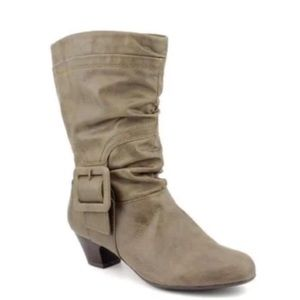 Material Girl Shoes - Material Girl Mid Calf Olive Green Heel Boot 5.5