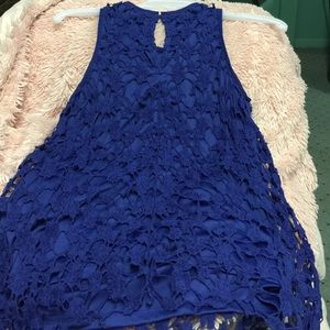 Adiva  Tops - 🌀Rich Navy Blue Lined Lace Sleeveless Top🌀