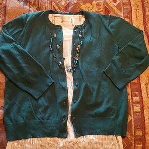 3/4 sleeve green sweater