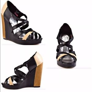 Baby Phat Shoes - BabyPhat JUNO Black Tan Wedge Heel Strapy Sandal