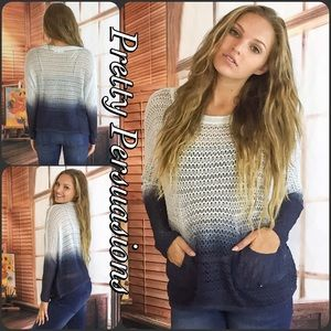 Pretty Persuasions Sweaters - SALE Navy Blue Ombré Tie Dyed Open Stitch Sweater