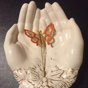 Vintage Butterfly Stickpin w Flutter Spring Wings