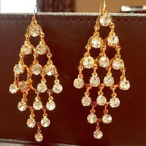 Jewelry - Gold Rhinestone Chandelier Earrings