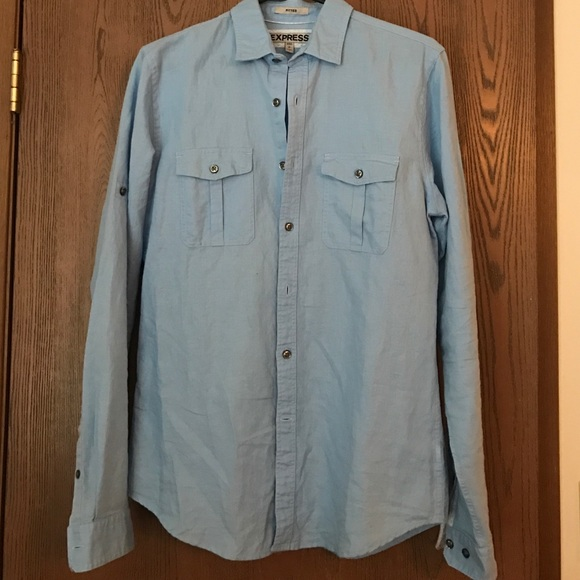 Express men 39 s express light blue linen shirt from for Mens light blue linen shirt