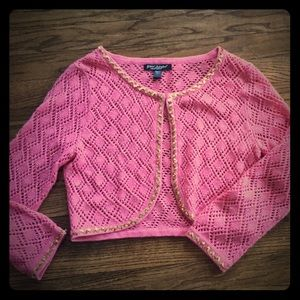 Betsey Johnson. Cute!! Pink & gold cropped sweater