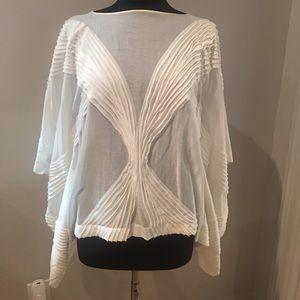 Josie Natori Glamorous bat sleeve cotton blouse