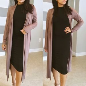 Sweaters - SALE•Mocha long trench cardigan
