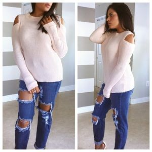 Sweaters - LAST SALE• Pale pink cold shoulder ribbed sweater