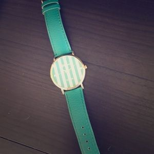 Geneva Platinum Jewelry - Teal striped big face designer watch