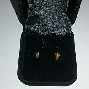 💥14 k Yellow Gold 💥Vintage Tigers Eye Earrings