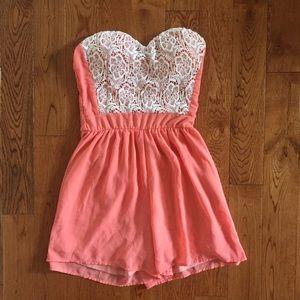 Peach / coral w/ lace chiffon strapless romper
