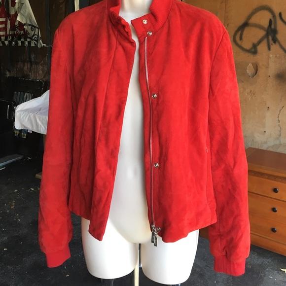 993fed06b Hugo Boss Jackets & Coats | Authentic Suede Bomber Jacket Red | Poshmark
