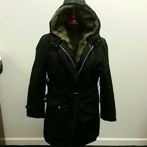 Jackets & Blazers - Fur Lined Black Coat