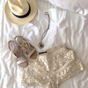 Zara Lace Crochet Shorts