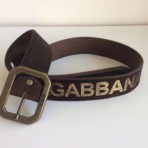 Dolce & Gabbana Brown Suede Logo Belt