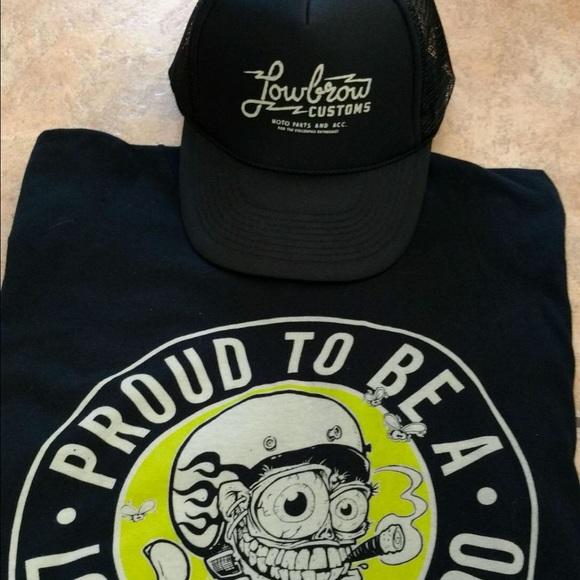 Lowbrow Custom Motorcycle T-Shirt & Hat (XXL) NWOT