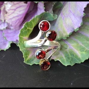 Garnet & Sterling Silver Ring