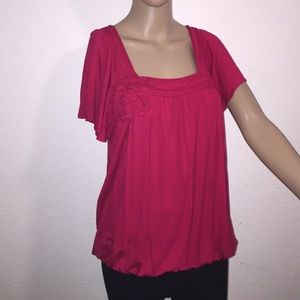 Sophie Max Tops - Red flutter sleeve gathered waist top